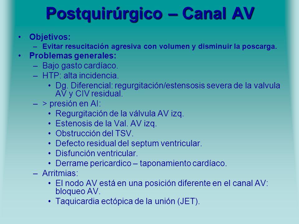 Postquirúrgico – Canal AV Objetivos: –Evitar resucitación agresiva con volumen y disminuir la poscarga. Problemas generales: –Bajo gasto cardíaco. –HT