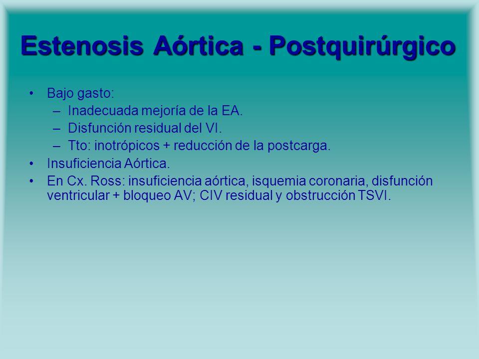 Estenosis Aórtica - Postquirúrgico Bajo gasto: –Inadecuada mejoría de la EA. –Disfunción residual del VI. –Tto: inotrópicos + reducción de la postcarg