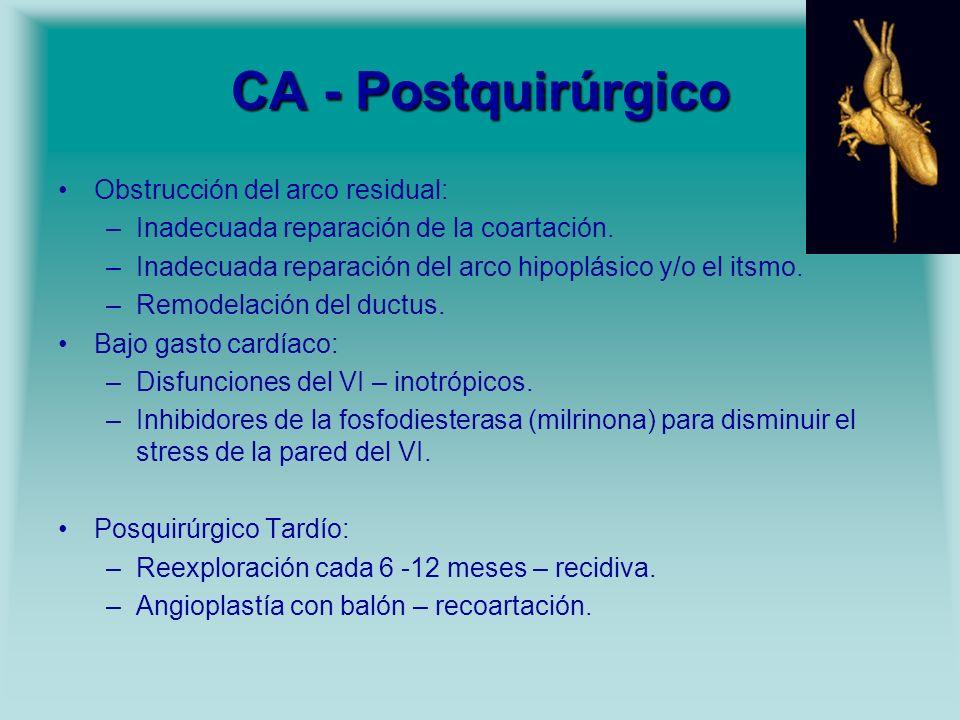 CA - Postquirúrgico Obstrucción del arco residual: –Inadecuada reparación de la coartación. –Inadecuada reparación del arco hipoplásico y/o el itsmo.