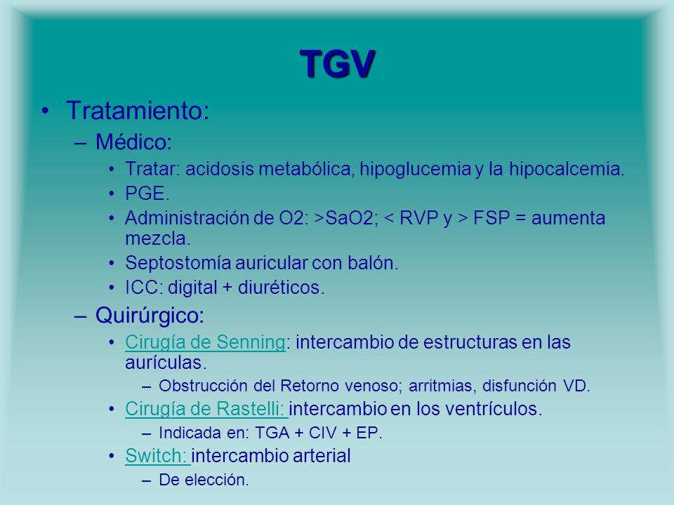 TGV Tratamiento: –Médico: Tratar: acidosis metabólica, hipoglucemia y la hipocalcemia. PGE. Administración de O2: >SaO2; FSP = aumenta mezcla. Septost