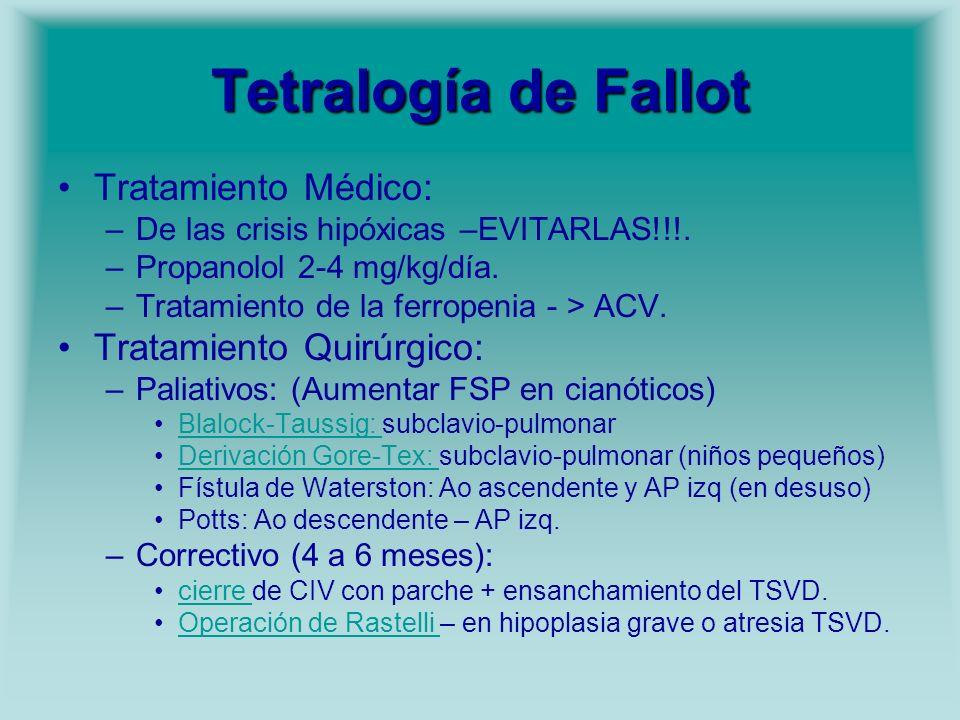 Tetralogía de Fallot Tratamiento Médico: –De las crisis hipóxicas –EVITARLAS!!!. –Propanolol 2-4 mg/kg/día. –Tratamiento de la ferropenia - > ACV. Tra