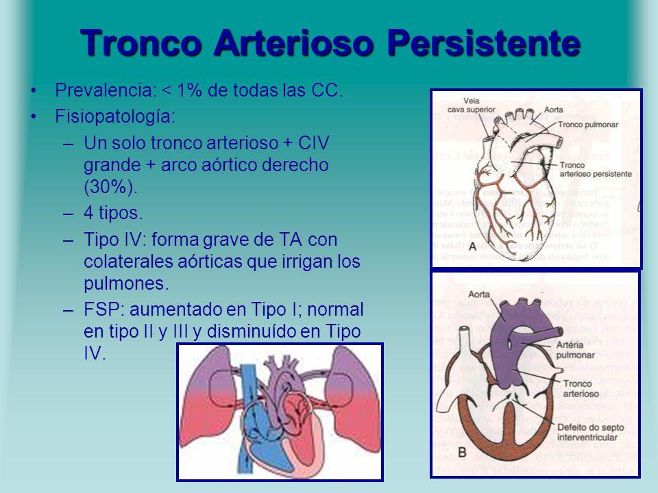 Tronco Arterioso Persistente Prevalencia: < 1% de todas las CC. Fisiopatología: –Un solo tronco arterioso + CIV grande + arco aórtico derecho (30%). –