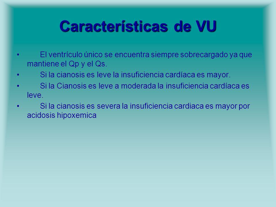 Características de VU El ventrículo único se encuentra siempre sobrecargado ya que mantiene el Qp y el Qs. Si la cianosis es leve la insuficiencia car