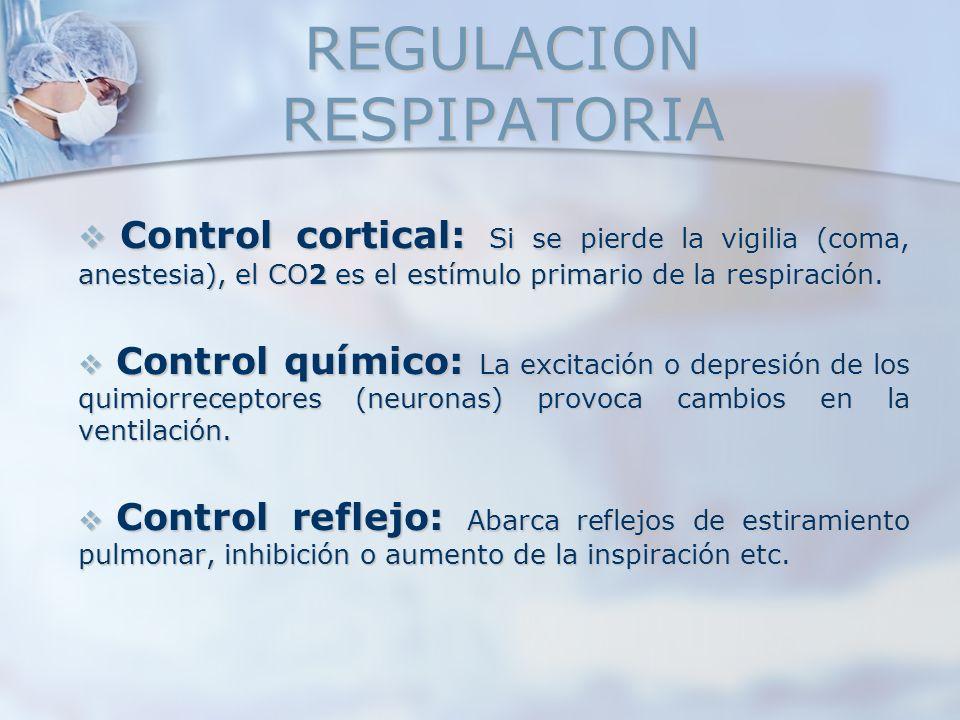 REGULACION RESPIPATORIA Control cortical: Si se pierde la vigilia (coma, anestesia), el CO2 es el estímulo primario de la respiración. Control cortica