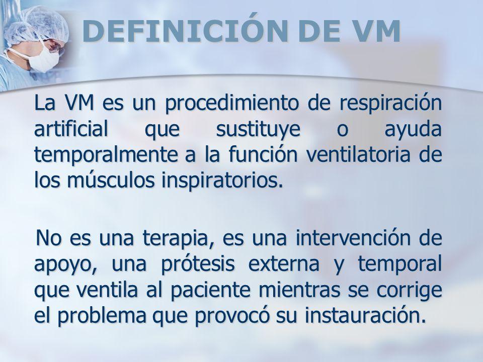 DEFINICIÓN DE VM La VM es un procedimiento de respiración artificial que sustituye o ayuda temporalmente a la función ventilatoria de los músculos ins