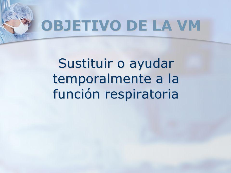 OBJETIVO DE LA VM Sustituir o ayudar temporalmente a la función respiratoria