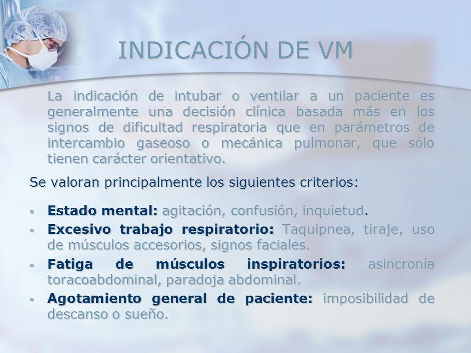 INDICACIÓN DE VM La indicación de intubar o ventilar a un paciente es generalmente una decisión clínica basada más en los signos de dificultad respira