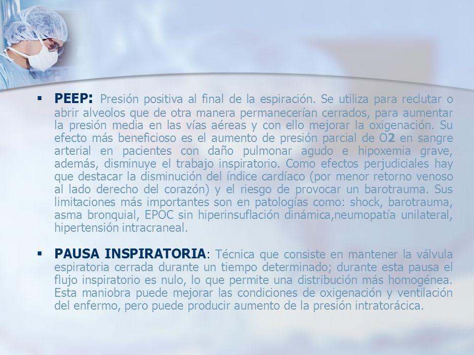 PEEP : Presión positiva al final de la espiración. Se utiliza para reclutar o abrir alveolos que de otra manera permanecerían cerrados, para aumentar