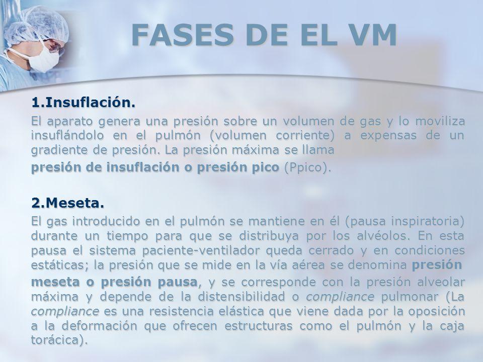 FASES DE EL VM 1.Insuflación. El aparato genera una presión sobre un volumen de gas y lo moviliza insuflándolo en el pulmón (volumen corriente) a expe