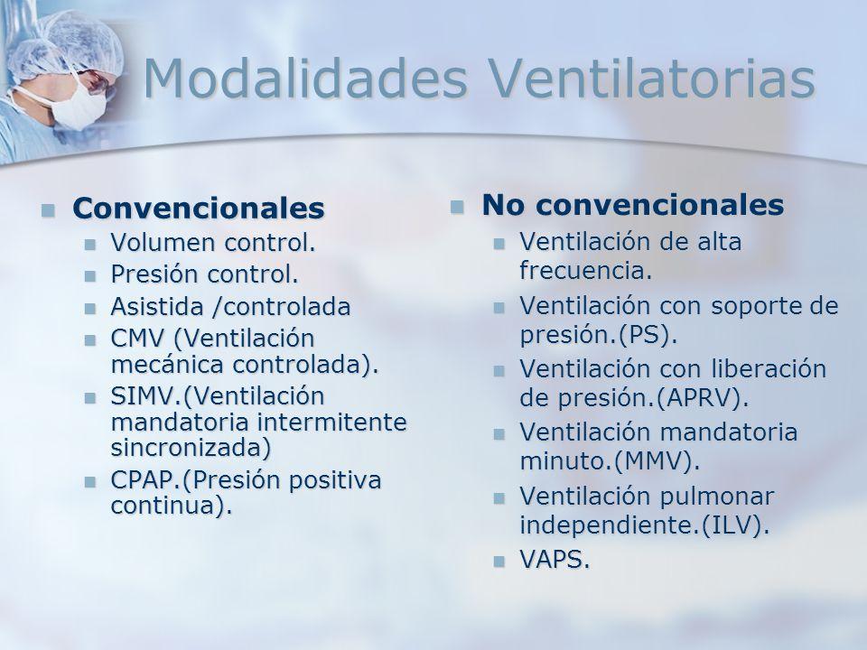 Convencionales Convencionales Volumen control. Volumen control. Presión control. Presión control. Asistida /controlada Asistida /controlada CMV (Venti