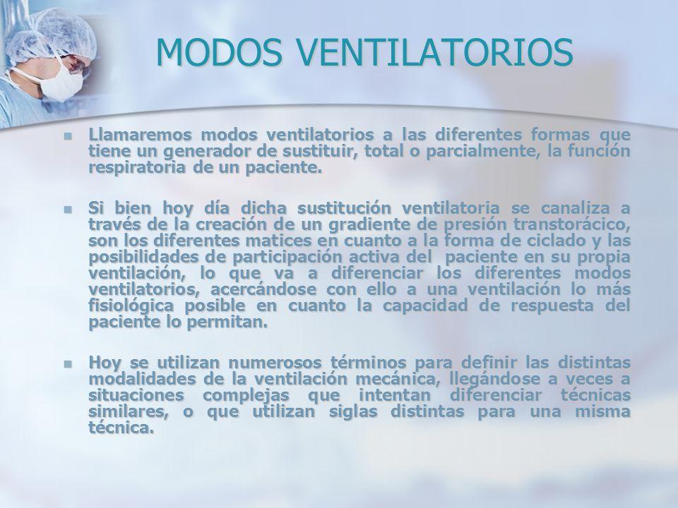 MODOS VENTILATORIOS Llamaremos modos ventilatorios a las diferentes formas que tiene un generador de sustituir, total o parcialmente, la función respi
