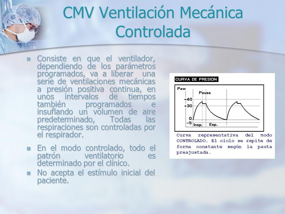 CMV Ventilación Mecánica Controlada Consiste en que el ventilador, dependiendo de los parámetros programados, va a liberar una serie de ventilaciones