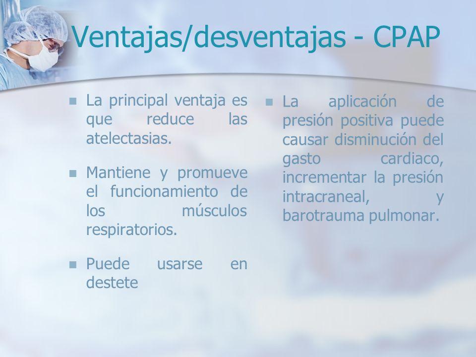 Ventajas/desventajas - CPAP La principal ventaja es que reduce las atelectasias. Mantiene y promueve el funcionamiento de los músculos respiratorios.