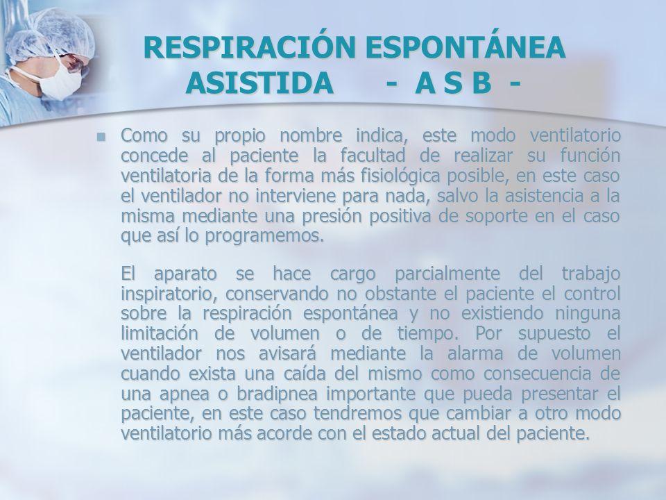 RESPIRACIÓN ESPONTÁNEA ASISTIDA - A S B - Como su propio nombre indica, este modo ventilatorio concede al paciente la facultad de realizar su función