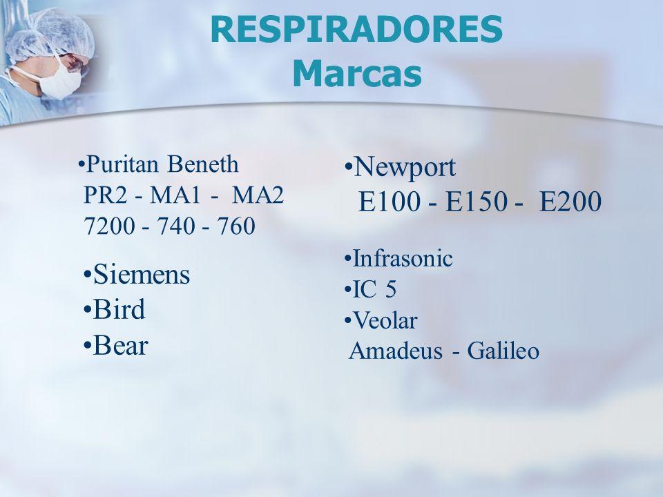 Puritan Beneth PR2 - MA1 - MA2 7200 - 740 - 760 Siemens Bird Bear Newport E100 - E150 - E200 Infrasonic IC 5 Veolar Amadeus - Galileo RESPIRADORES Mar