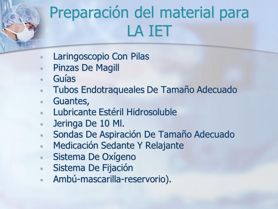 Preparación del material para LA IET Laringoscopio Con Pilas Laringoscopio Con Pilas Pinzas De Magill Pinzas De Magill Guías Guías Tubos Endotraqueale