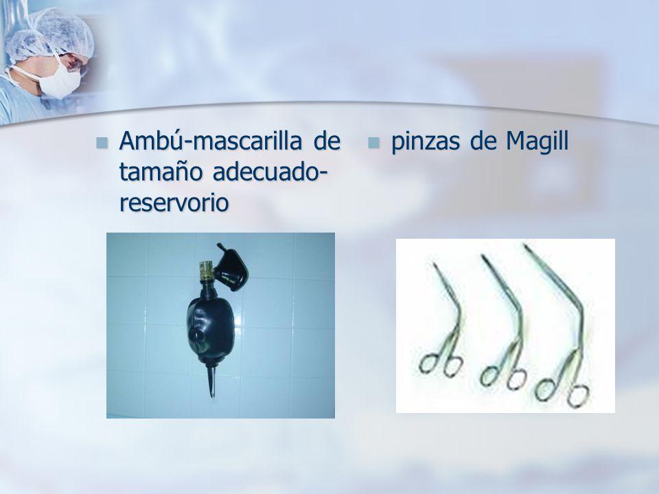 Ambú-mascarilla de tamaño adecuado- reservorio Ambú-mascarilla de tamaño adecuado- reservorio pinzas de Magill