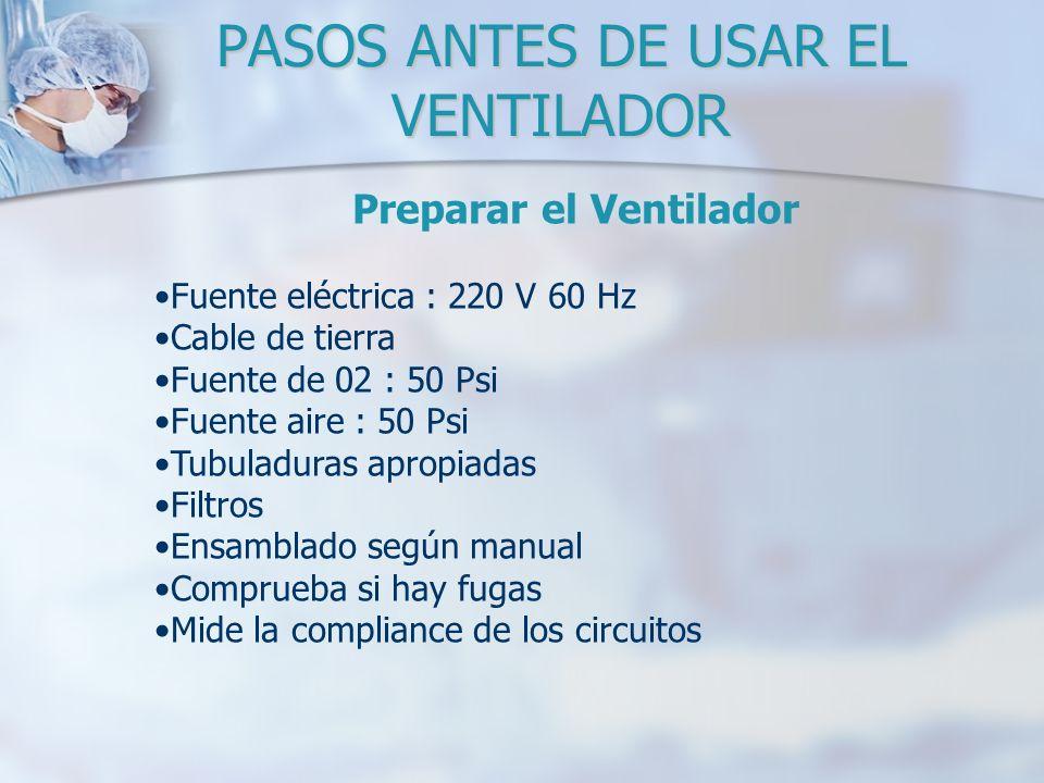 Preparar el Ventilador Fuente eléctrica : 220 V 60 Hz Cable de tierra Fuente de 02 : 50 Psi Fuente aire : 50 Psi Tubuladuras apropiadas Filtros Ensamb