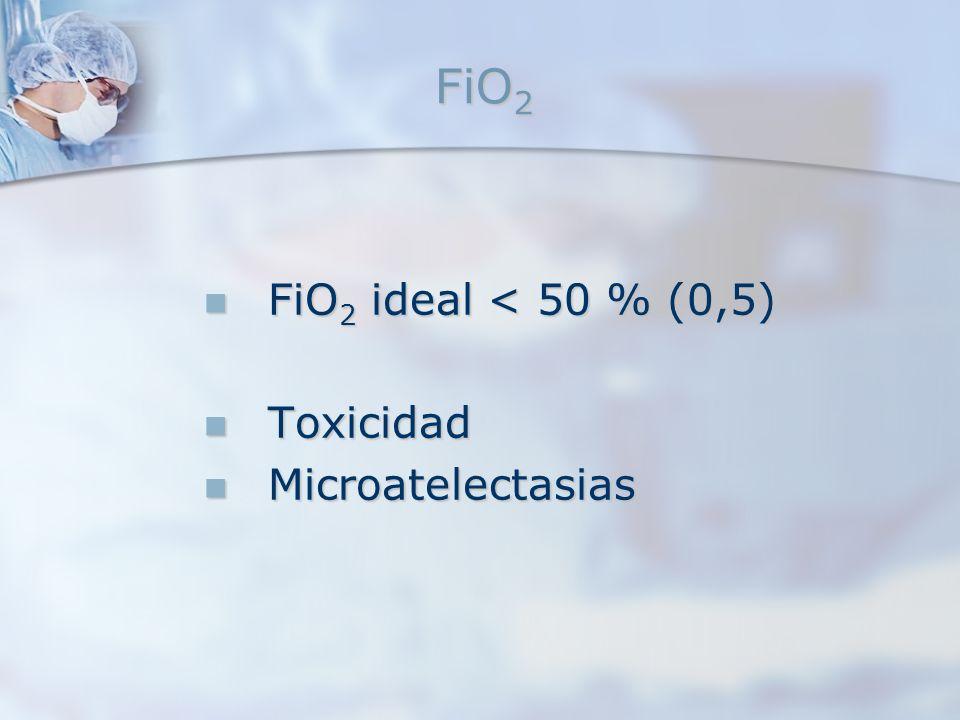 FiO 2 FiO 2 ideal < 50 % (0,5) FiO 2 ideal < 50 % (0,5) Toxicidad Toxicidad Microatelectasias Microatelectasias
