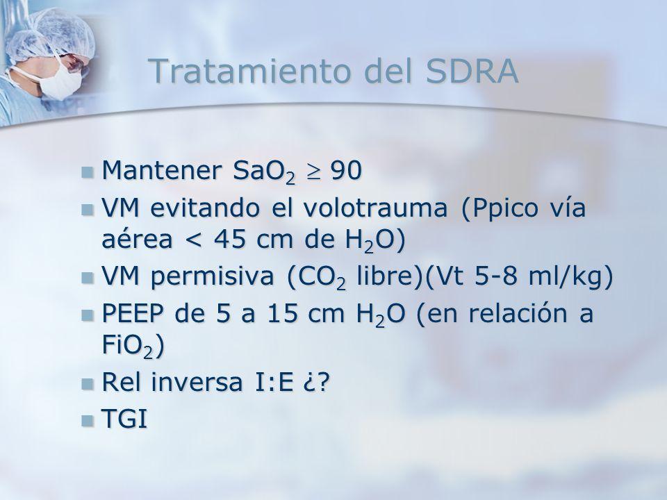 Tratamiento del SDRA Mantener SaO 2 90 Mantener SaO 2 90 VM evitando el volotrauma (Ppico vía aérea < 45 cm de H 2 O) VM evitando el volotrauma (Ppico