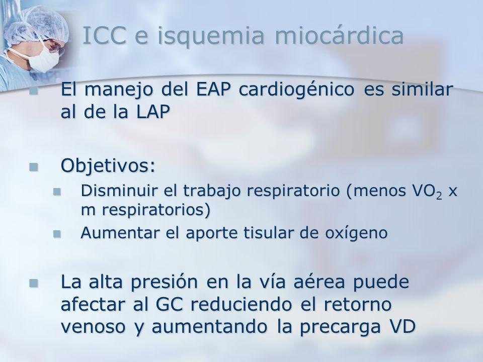 ICC e isquemia miocárdica El manejo del EAP cardiogénico es similar al de la LAP El manejo del EAP cardiogénico es similar al de la LAP Objetivos: Obj