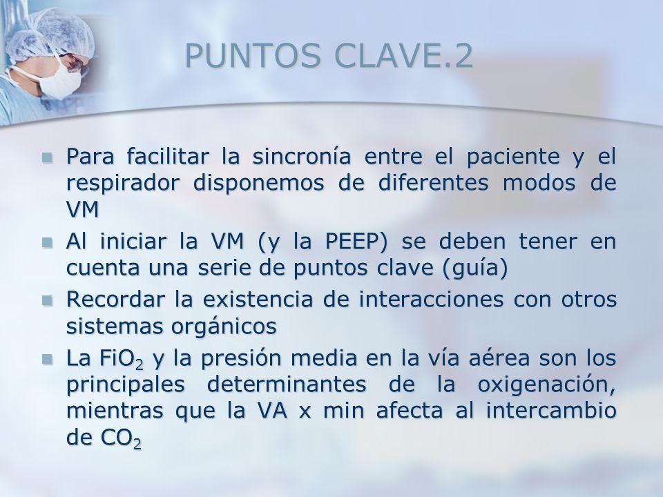 PUNTOS CLAVE.2 Para facilitar la sincronía entre el paciente y el respirador disponemos de diferentes modos de VM Para facilitar la sincronía entre el