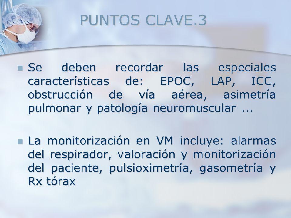 PUNTOS CLAVE.3 Se deben recordar las especiales características de: EPOC, LAP, ICC, obstrucción de vía aérea, asimetría pulmonar y patología neuromusc