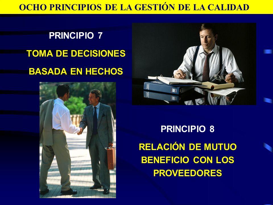 PRINCIPIO 7 TOMA DE DECISIONES BASADA EN HECHOS OCHO PRINCIPIOS DE LA GESTIÓN DE LA CALIDAD PRINCIPIO 8 RELACIÓN DE MUTUO BENEFICIO CON LOS PROVEEDORE