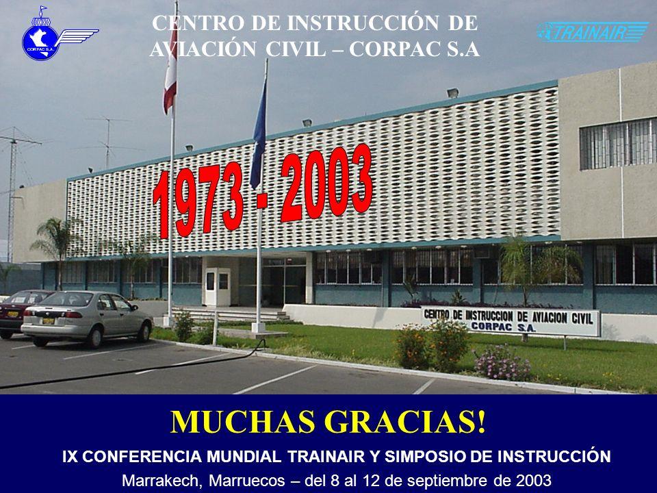 CENTRO DE INSTRUCCIÓN DE AVIACIÓN CIVIL – CORPAC S.A MUCHAS GRACIAS! IX CONFERENCIA MUNDIAL TRAINAIR Y SIMPOSIO DE INSTRUCCIÓN Marrakech, Marruecos –