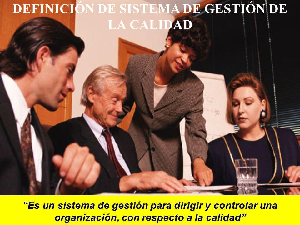 DEFINICIÓN DE SISTEMA DE GESTIÓN DE LA CALIDAD Es un sistema de gestión para dirigir y controlar una organización, con respecto a la calidad