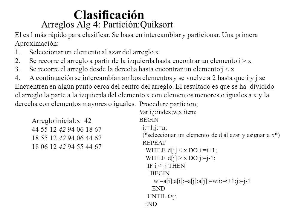 Clasificación Arreglos Alg 4: Partición:Quiksort El es l más rápido para clasificar. Se basa en intercambiar y particionar. Una primera Aproximación:
