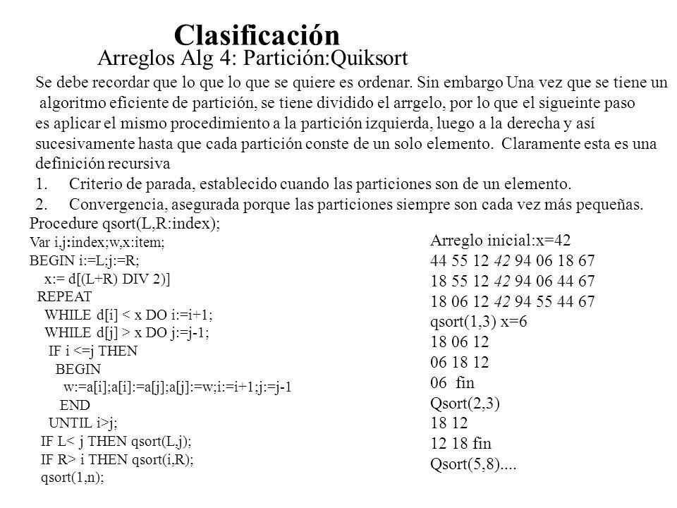 Clasificación Arreglos Alg 4: Partición:Quiksort Se debe recordar que lo que lo que se quiere es ordenar. Sin embargo Una vez que se tiene un algoritm