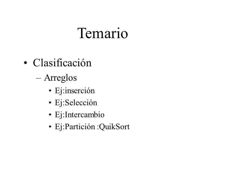 Temario Clasificación –Arreglos Ej:inserción Ej:Selección Ej:Intercambio Ej:Partición :QuikSort