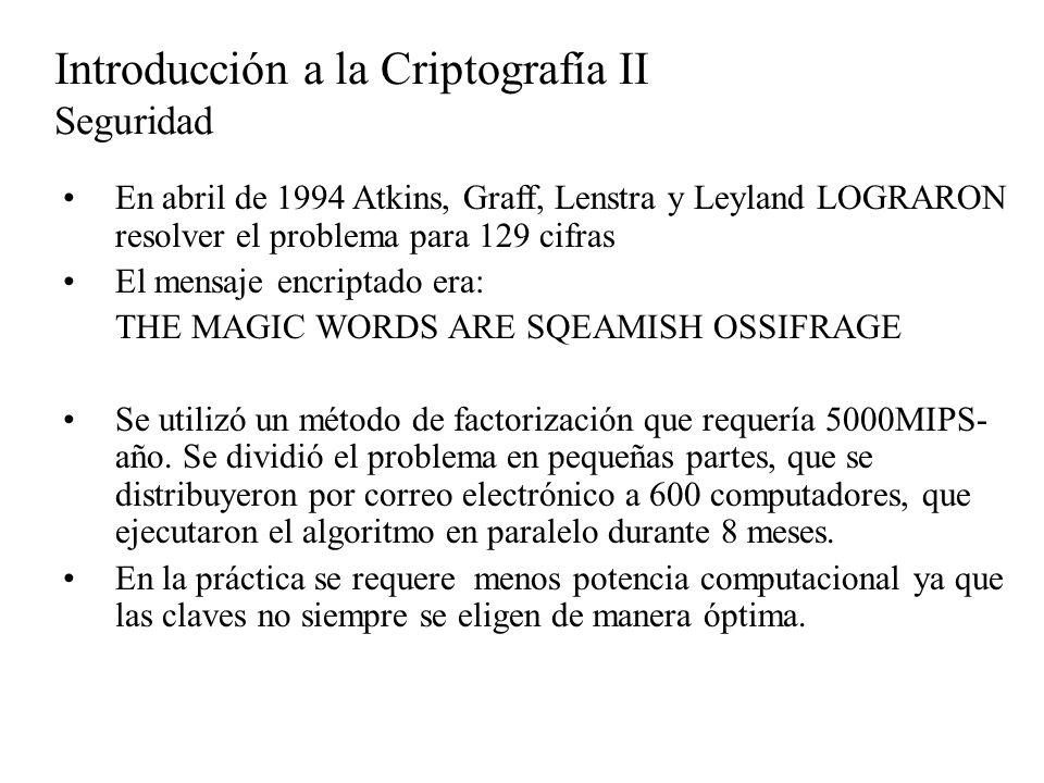 En abril de 1994 Atkins, Graff, Lenstra y Leyland LOGRARON resolver el problema para 129 cifras El mensaje encriptado era: THE MAGIC WORDS ARE SQEAMIS