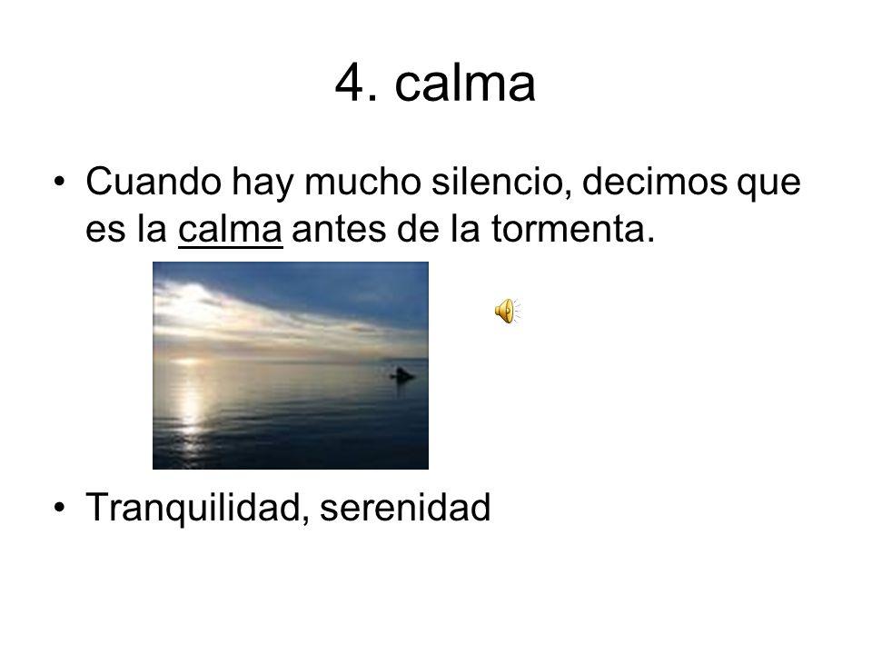 4.calma Cuando hay mucho silencio, decimos que es la calma antes de la tormenta.