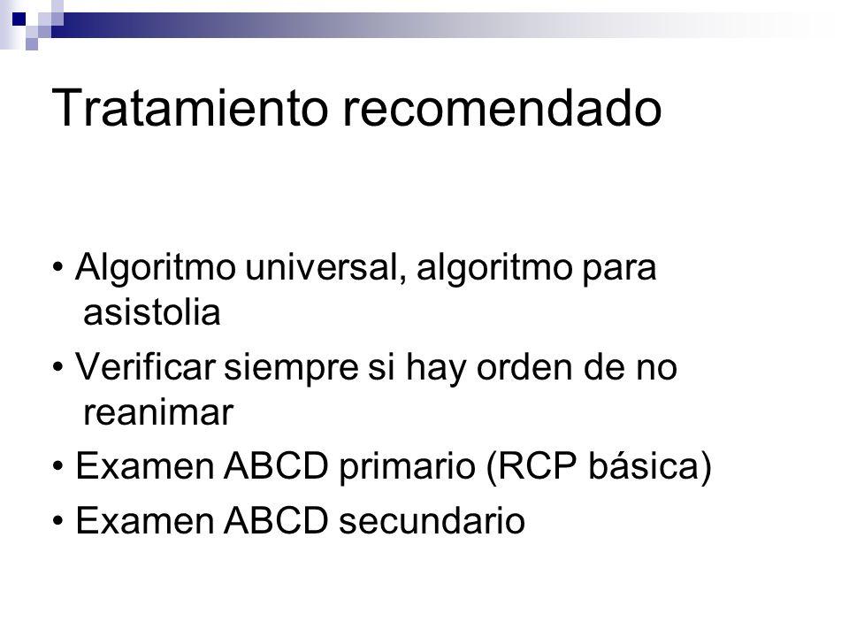 Tratamiento recomendado Algoritmo universal, algoritmo para asistolia Verificar siempre si hay orden de no reanimar Examen ABCD primario (RCP básica)