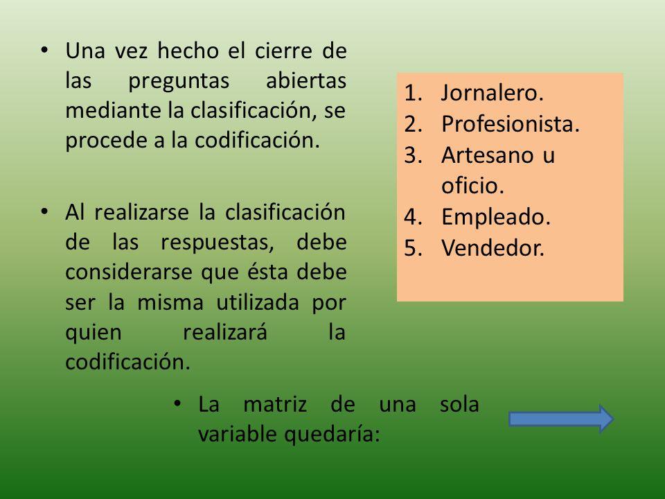Una vez hecho el cierre de las preguntas abiertas mediante la clasificación, se procede a la codificación.