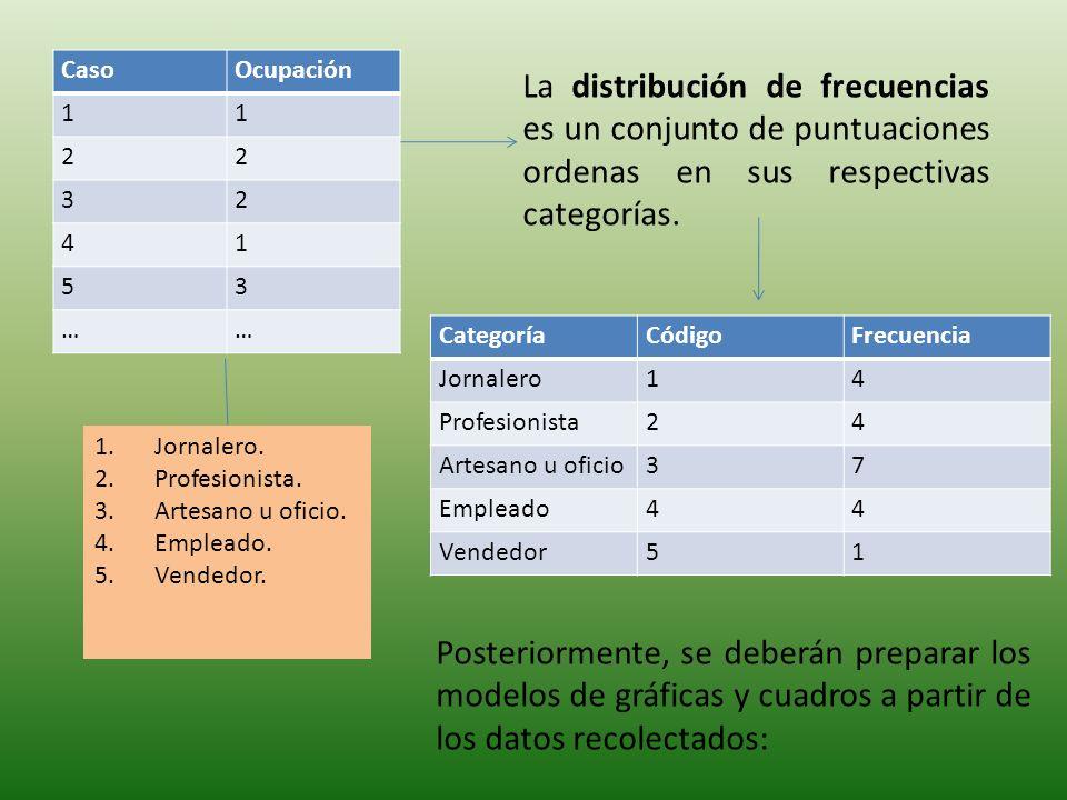 CasoOcupación 11 22 32 41 53 …… 1.Jornalero.2.Profesionista.