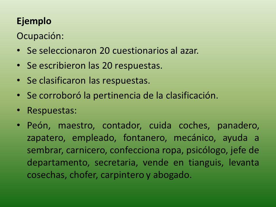 Ejemplo Ocupación: Se seleccionaron 20 cuestionarios al azar.
