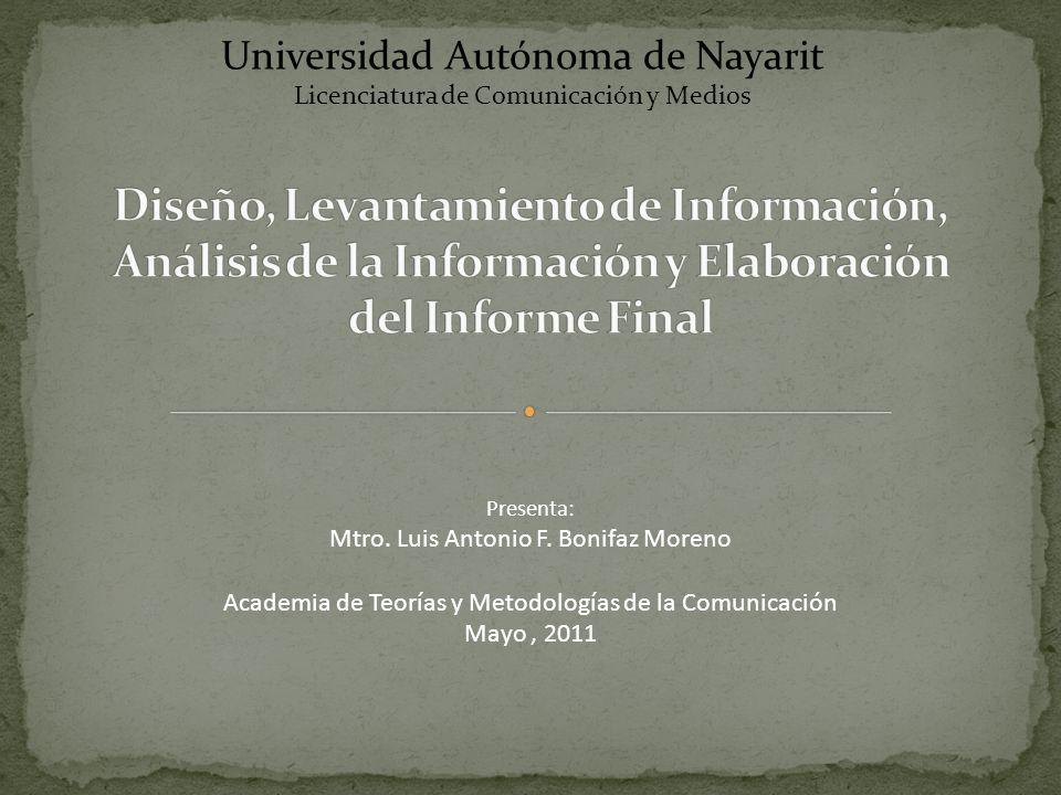 Presenta: Mtro. Luis Antonio F. Bonifaz Moreno Academia de Teorías y Metodologías de la Comunicación Mayo, 2011 Universidad Autónoma de Nayarit Licenc