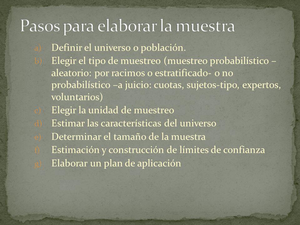 a) Definir el universo o población. b) Elegir el tipo de muestreo (muestreo probabilístico – aleatorio: por racimos o estratificado- o no probabilísti