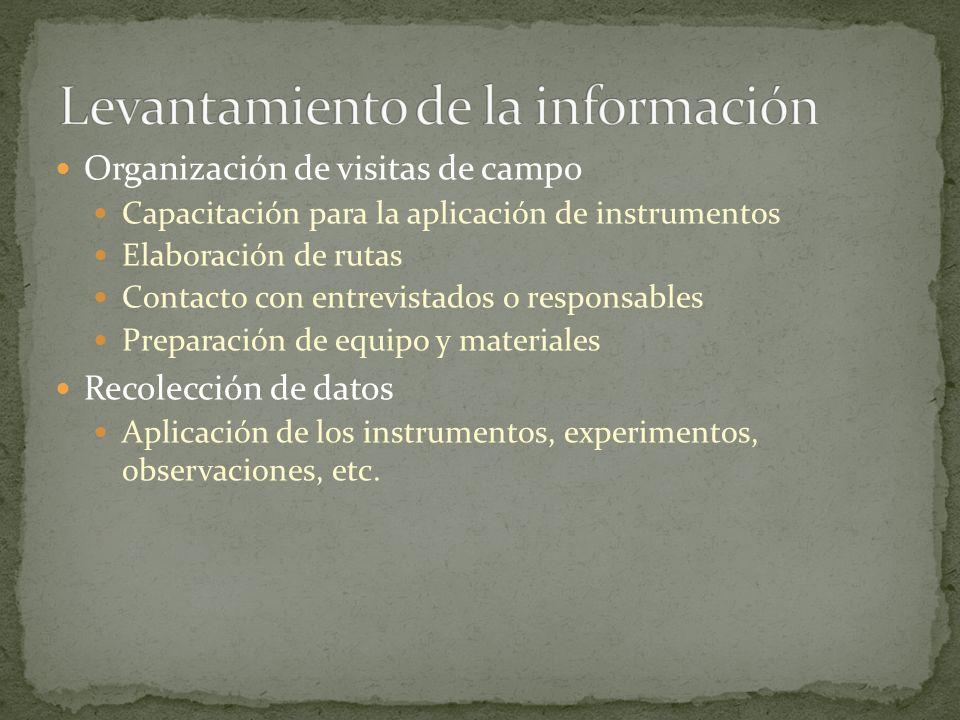 Organización de visitas de campo Capacitación para la aplicación de instrumentos Elaboración de rutas Contacto con entrevistados o responsables Prepar