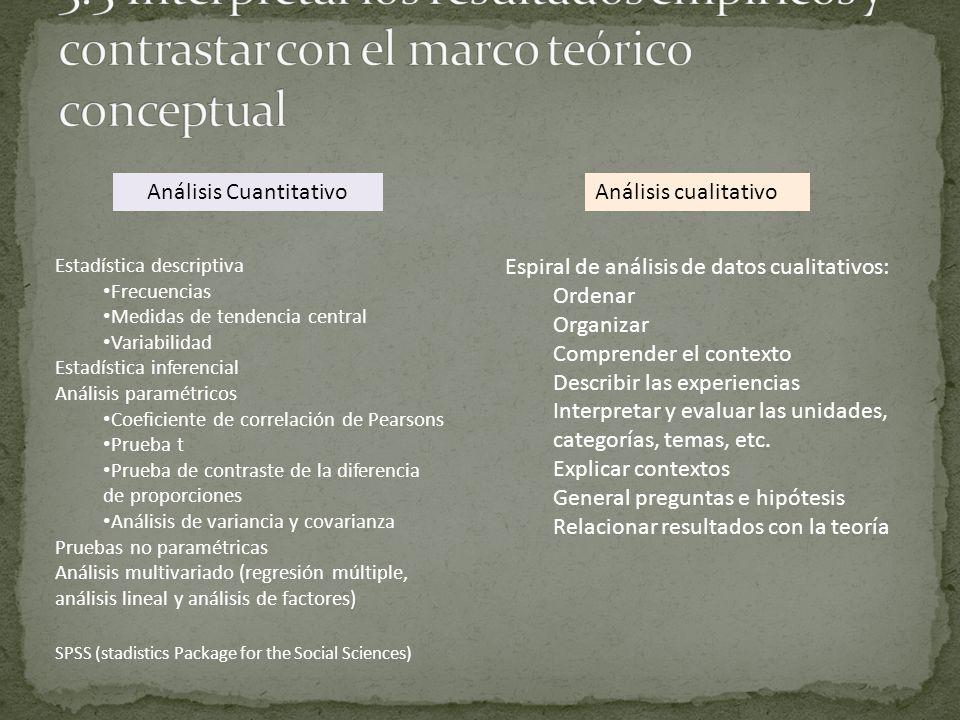 Análisis CuantitativoAnálisis cualitativo Estadística descriptiva Frecuencias Medidas de tendencia central Variabilidad Estadística inferencial Anális