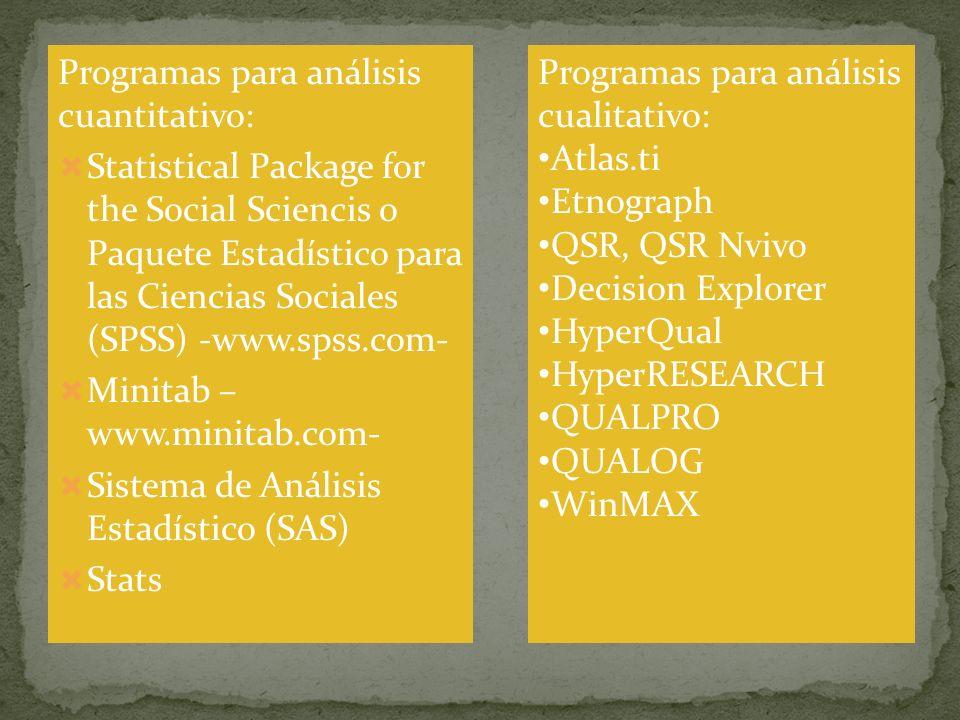 Programas para análisis cuantitativo: Statistical Package for the Social Sciencis o Paquete Estadístico para las Ciencias Sociales (SPSS) -www.spss.co