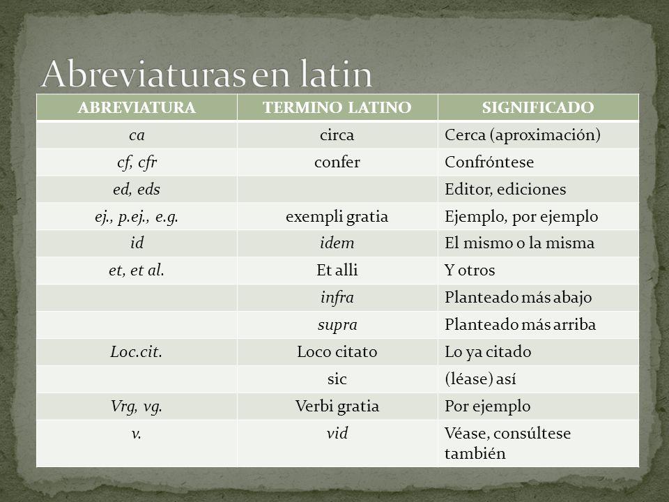 ABREVIATURATERMINO LATINOSIGNIFICADO cacircaCerca (aproximación) cf, cfrconferConfróntese ed, edsEditor, ediciones ej., p.ej., e.g.exempli gratiaEjemp