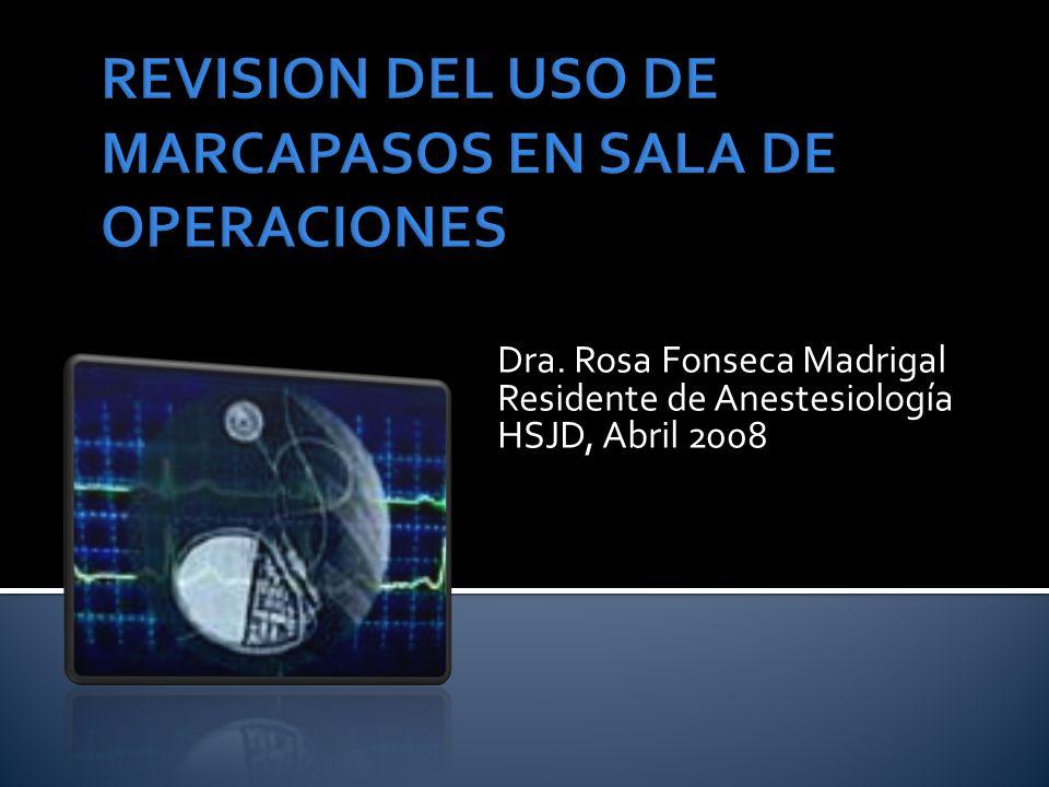 Dra. Rosa Fonseca Madrigal Residente de Anestesiología HSJD, Abril 2008