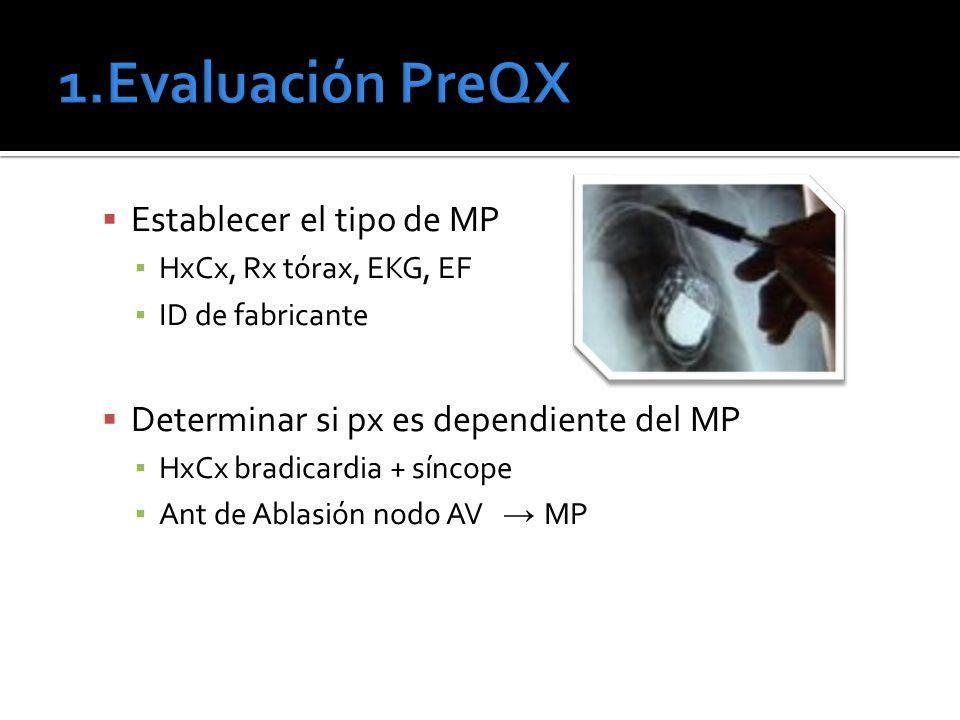 Establecer el tipo de MP HxCx, Rx tórax, EKG, EF ID de fabricante Determinar si px es dependiente del MP HxCx bradicardia + síncope Ant de Ablasión no