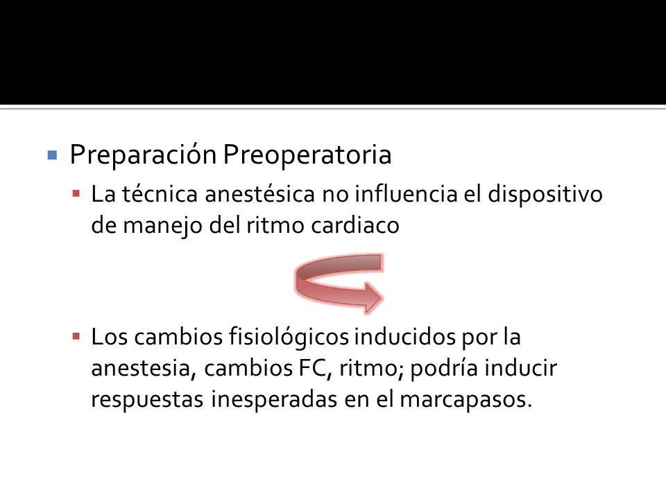 Preparación Preoperatoria La técnica anestésica no influencia el dispositivo de manejo del ritmo cardiaco Los cambios fisiológicos inducidos por la an
