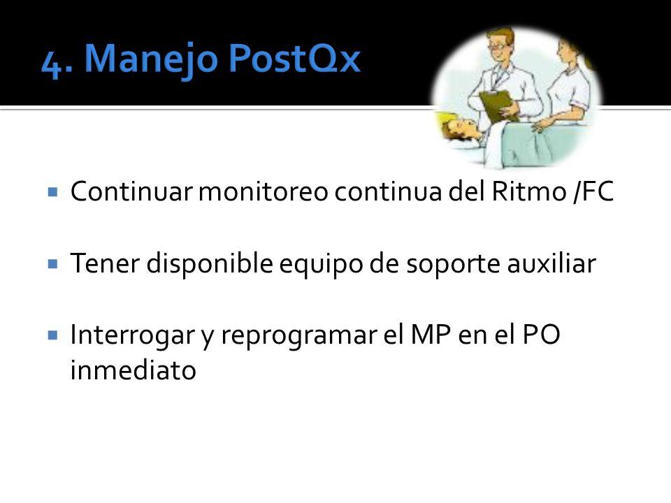 Continuar monitoreo continua del Ritmo /FC Tener disponible equipo de soporte auxiliar Interrogar y reprogramar el MP en el PO inmediato