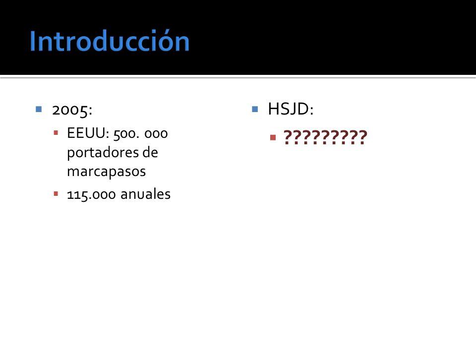2005: EEUU: 500. 000 portadores de marcapasos 115.000 anuales HSJD: ?????????